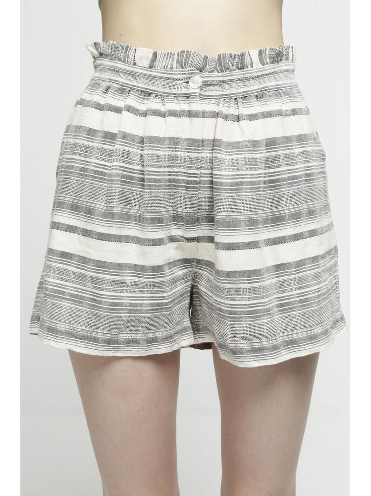 - Short court en coton rayé ecru et gris - Taille élastiquée