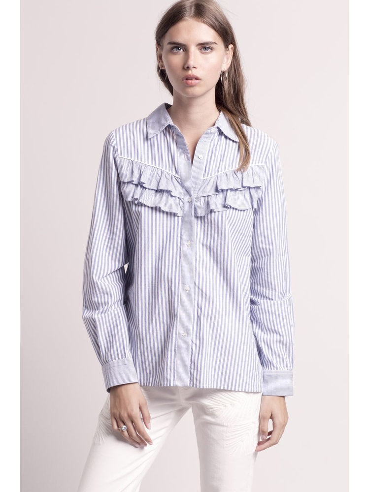 - Chemise à volants, rayures contrariées blanches et bleues