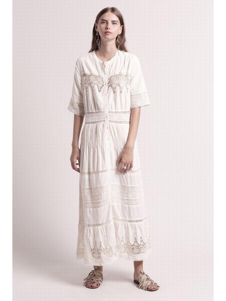 - Robe longue en coton brodé entièrement boutonnée -