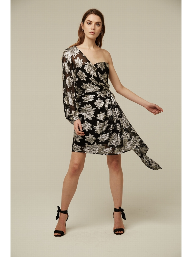 - Robe asymétrique noir et argenté - Jacquard floral