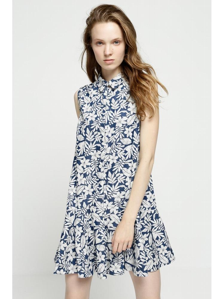 - Robe courte sans manche imprimé fleurs - Couleur bleu jean
