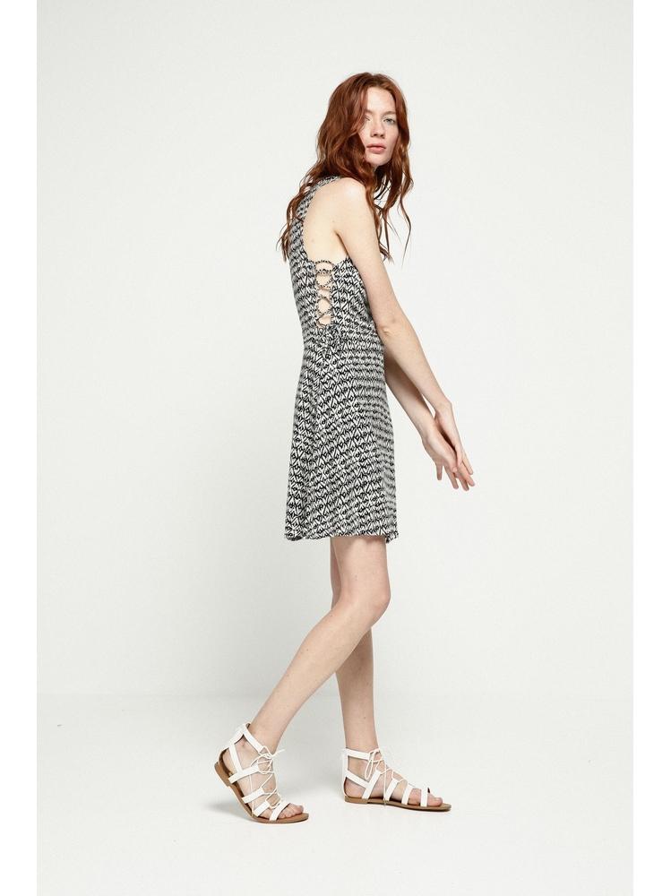 - Robe courte sans manche imprimé noir - Col rond - Lacets