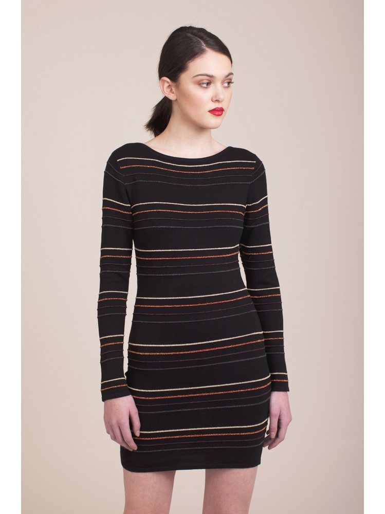 - Robe courte et moulante noir à bandes lurex multicolor -