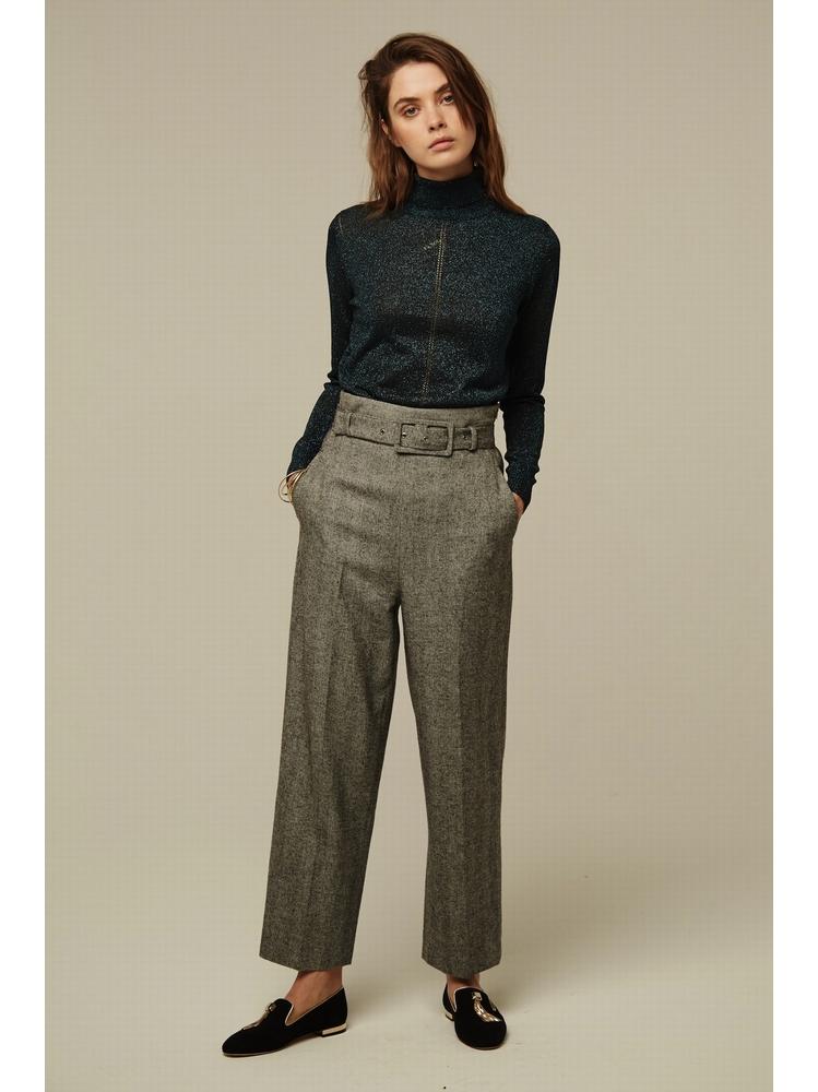 - Pantalon taille haute en tweed à motif chevron - Taille