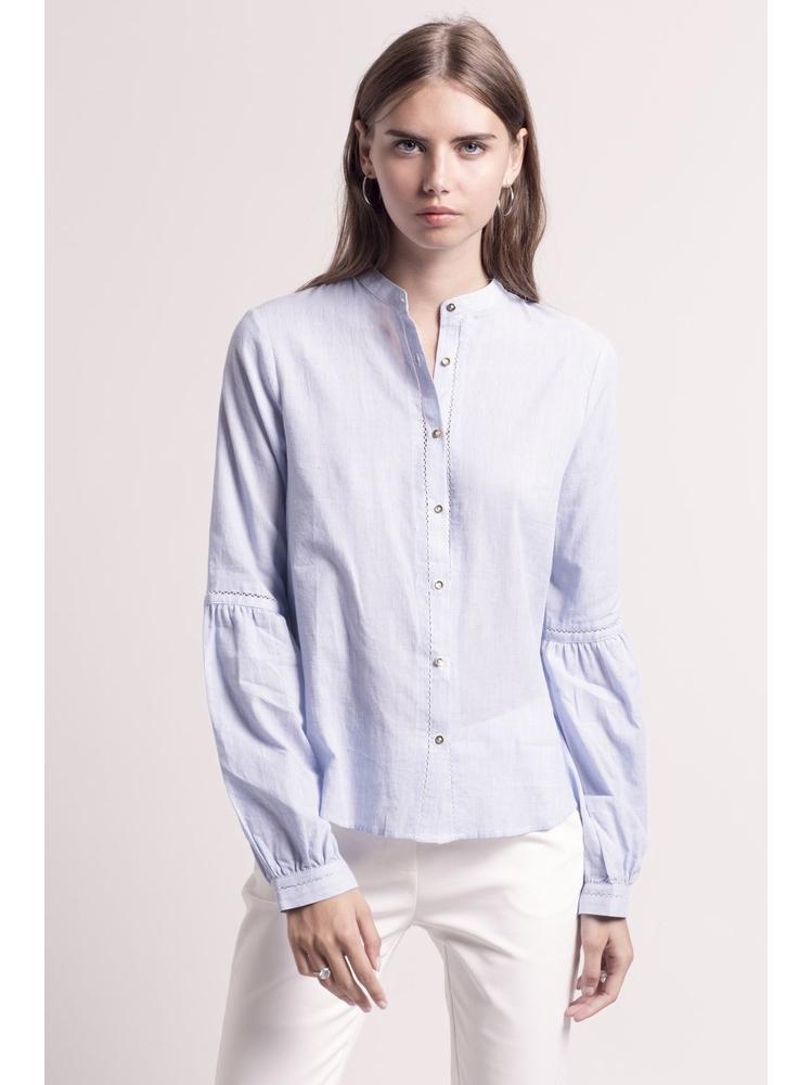 - Chemise col mao en coton à fines rayures blanc et bleu +