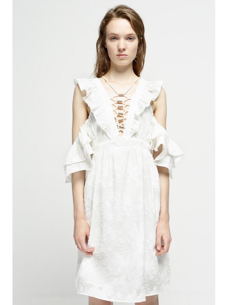 - Robe courte blanche en coton brodée - Epaules dénudées -