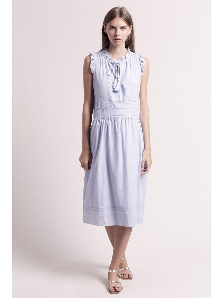 - Robe longue ajourée en coton à fines rayures blanc et bleu