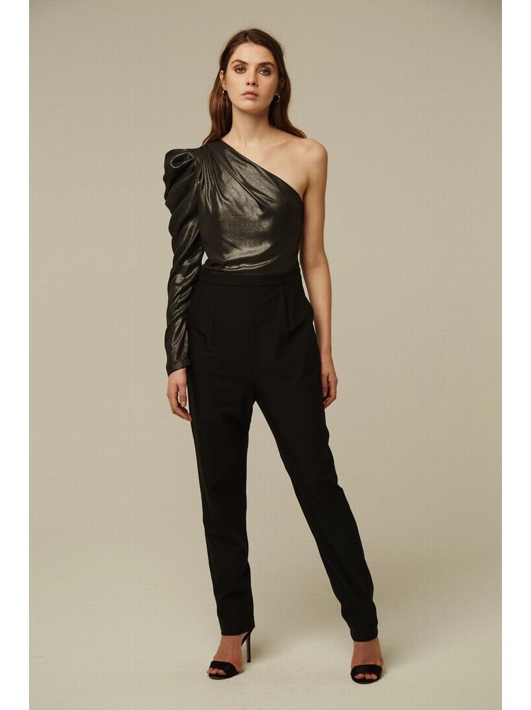 - Combinaison pantalon asymétrique - Manche longue gigot à