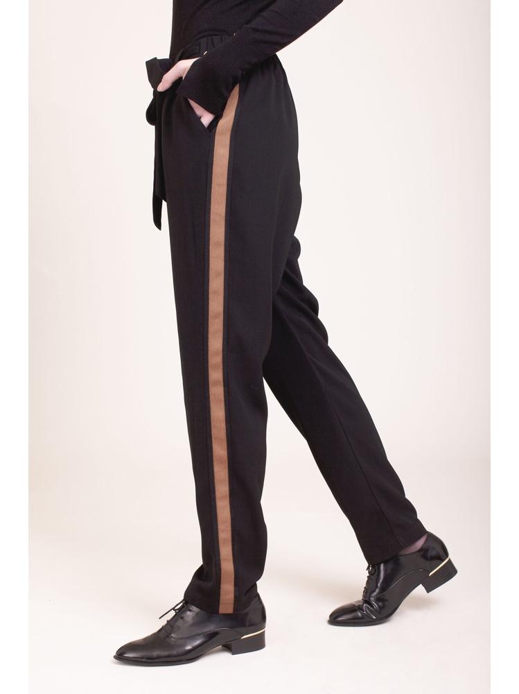 - Pantalon à pinces noir avec bandes latérales - Taille