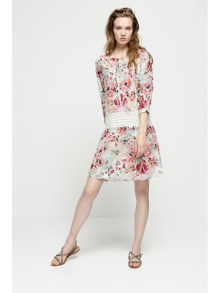 - Robe courte multicolore ajourée en broderie anglaise -