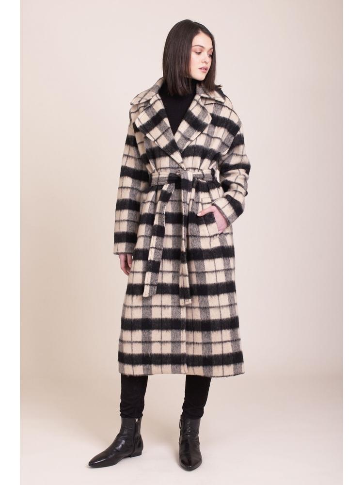 - Manteau long oversize à carreaux écru et noir - ceinture