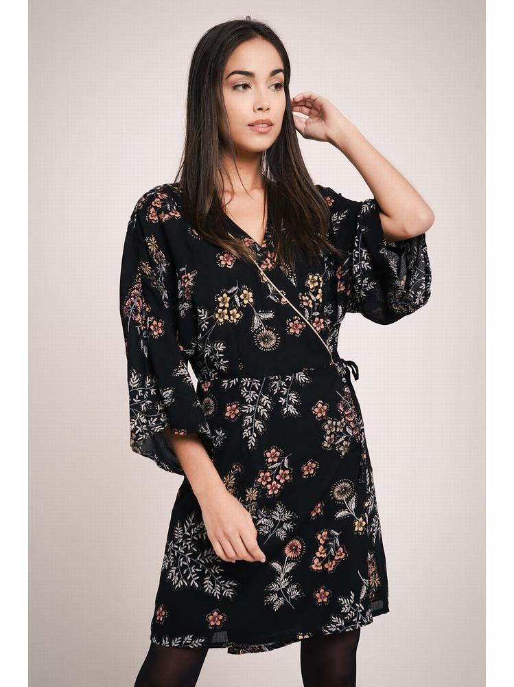- Robe cache-coeur noir imprimé fleurs multicolore - Manches