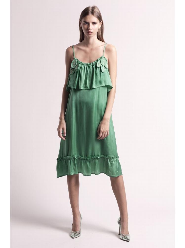 - Robe bretelles en satin vert à volants - Découpe de