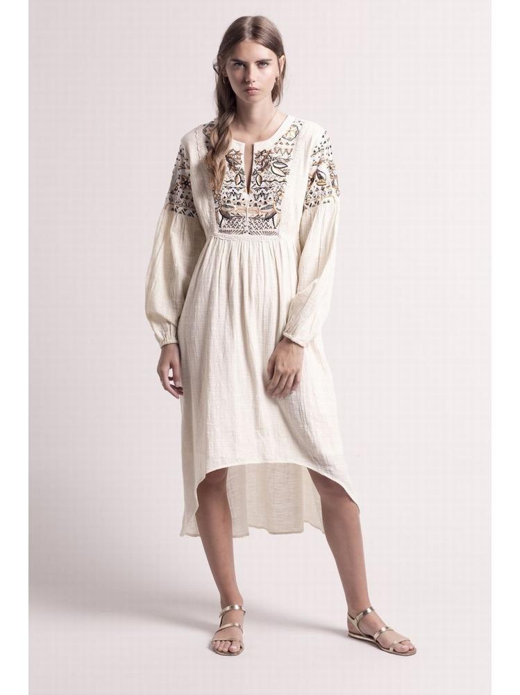 - Robe écru en coton avec plastron et manches brodées -