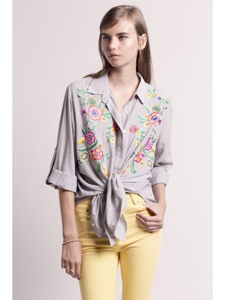 - Chemise rayée noir et blanc + fleurs brodées multicolore -