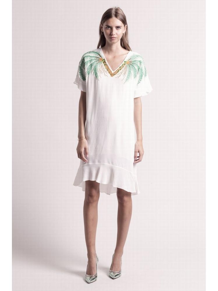 - Robe droite à volants avec broderie fantaisies + perles à