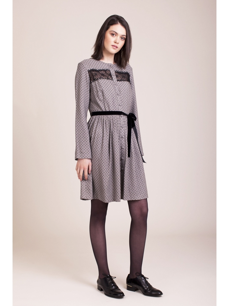 - Robe chemise grise pois noir - Col rond - Manches longues
