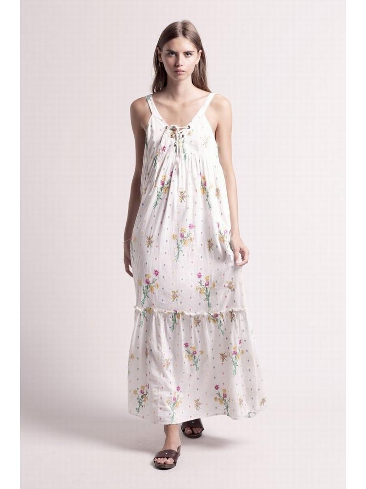 - Robe longue en coton blanc à broderies fleurs multicolore