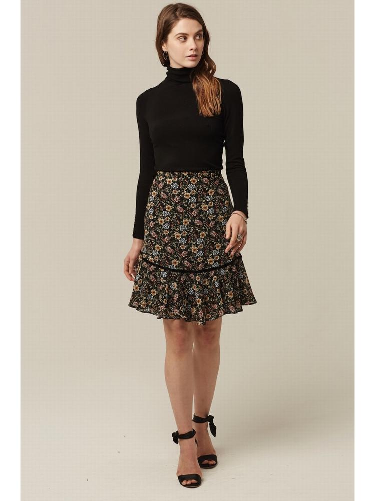 - Jupe taille haute imprimée fleurs multicolore - Taille