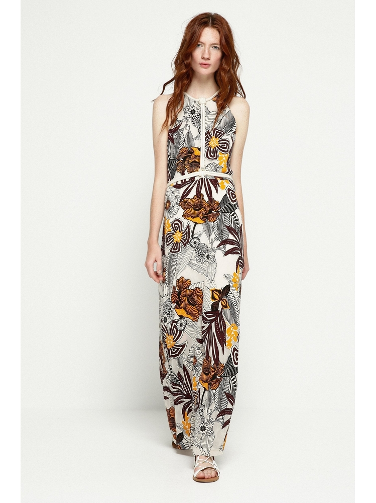- Robe longue beige imprimé africain - Sans manches - Longue