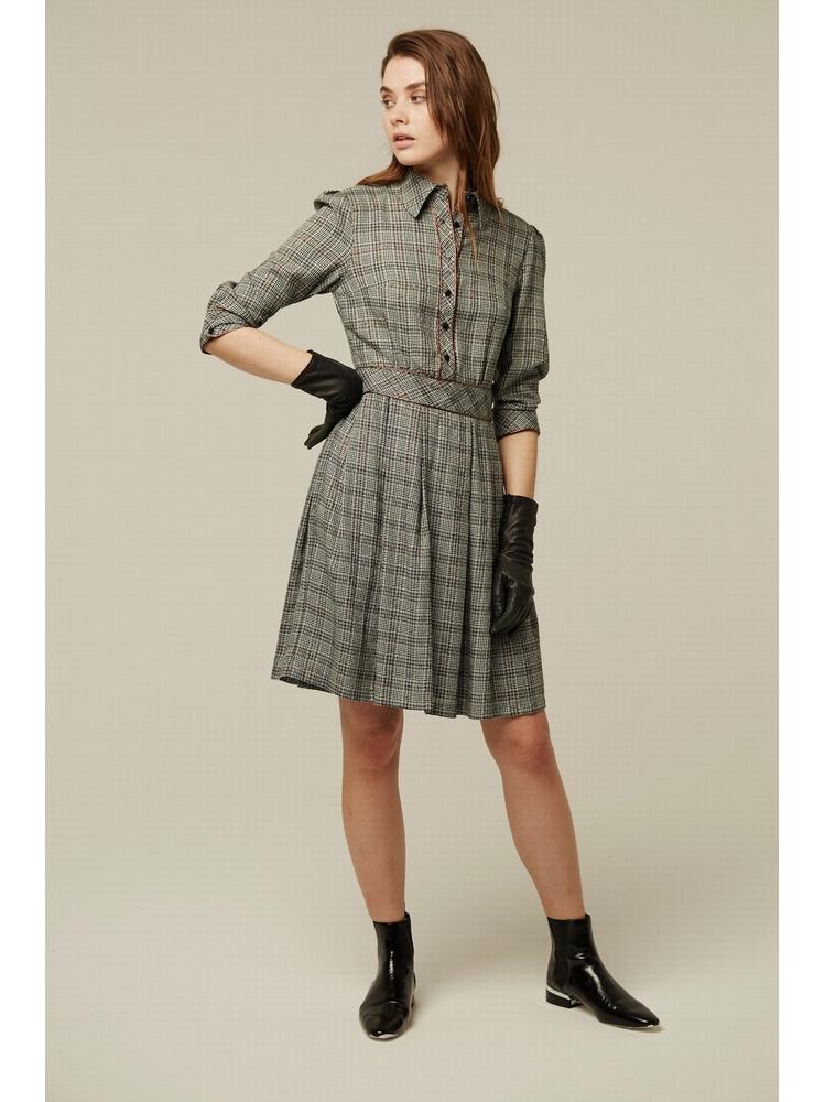- Robe chemise à carreaux - Haut boutonné - Cintré au dessus