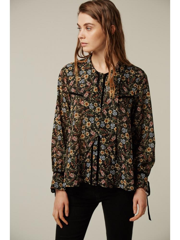 - Chemise col lavallière imprimée fleurs multicolore -