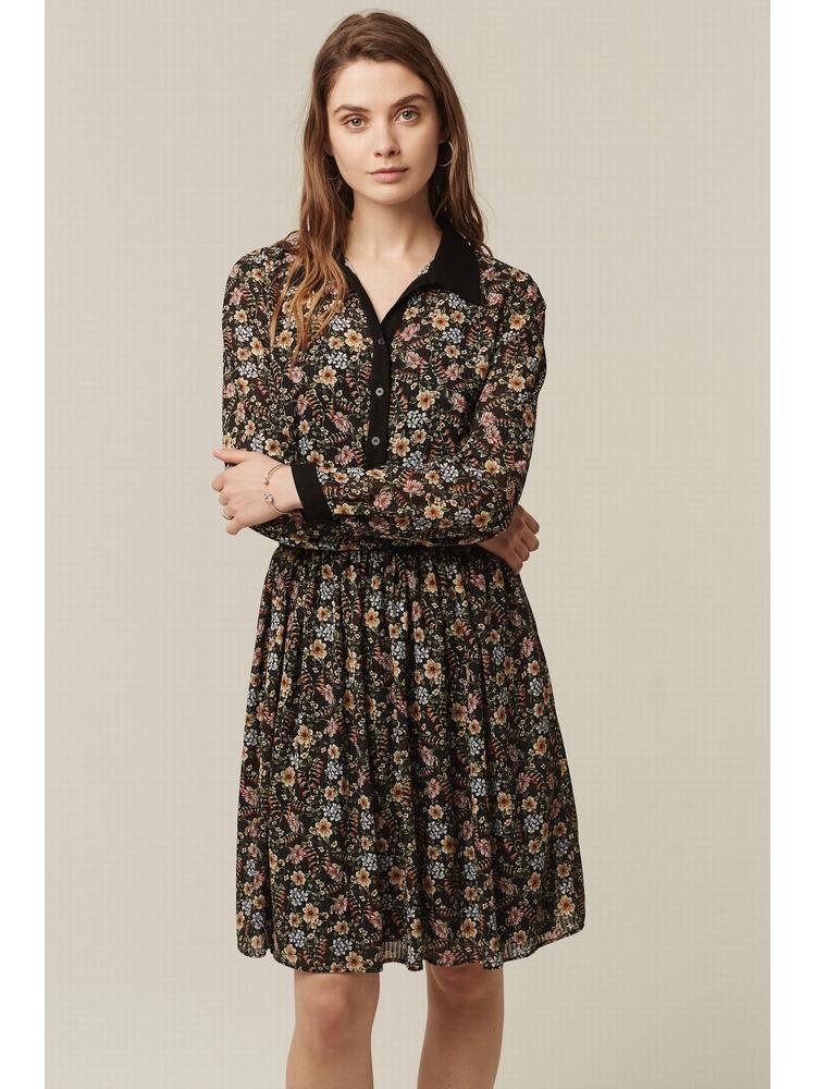 - Robe col chemise imprimée fleurs multicolore - Cintré au