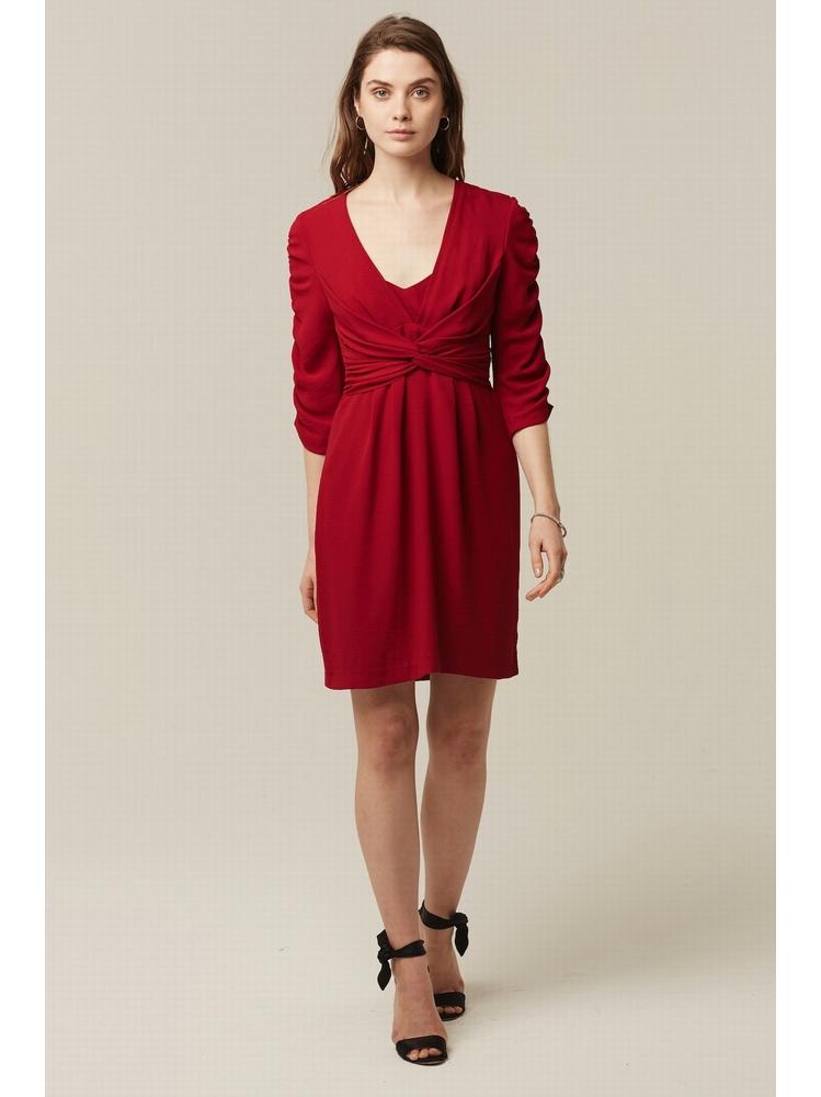 - Robe courte bordeaux - Manches 3/4 froncées - nœud croisé