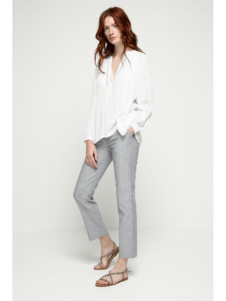 - Pantalon coupe droite à fines rayures - Fermeture éclaire