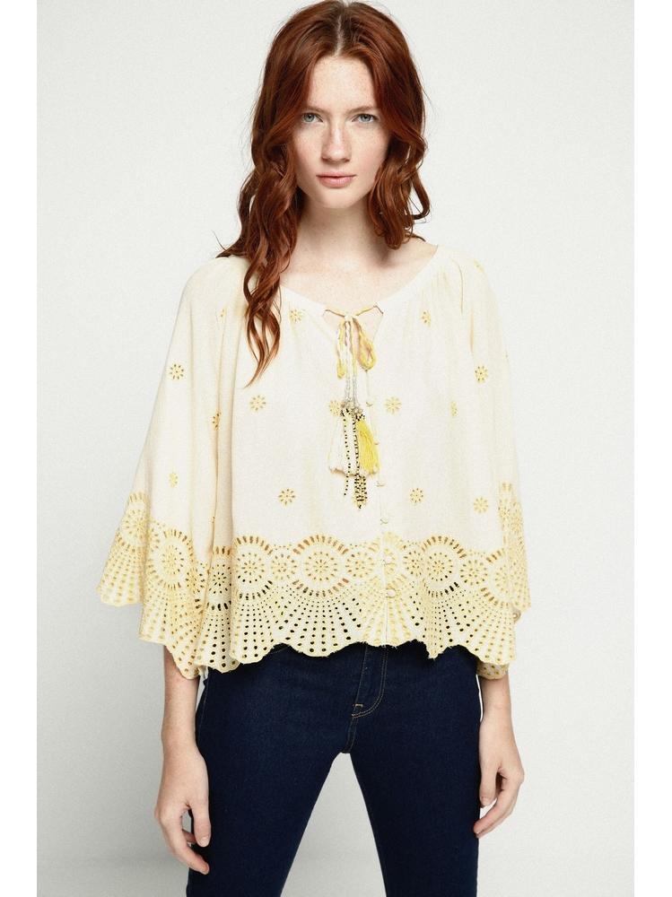 - Blouse ample jaune pale brodée et ajourée - Devant