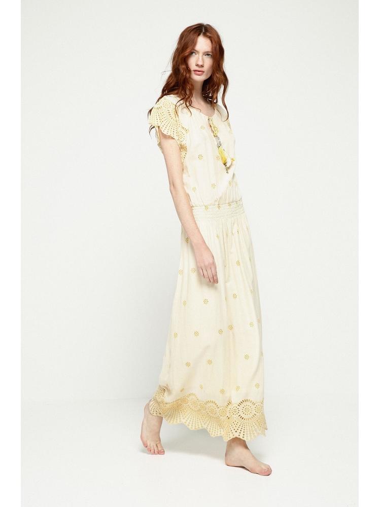 - Robe longue jaune pale manches papillon brodée et ajourée