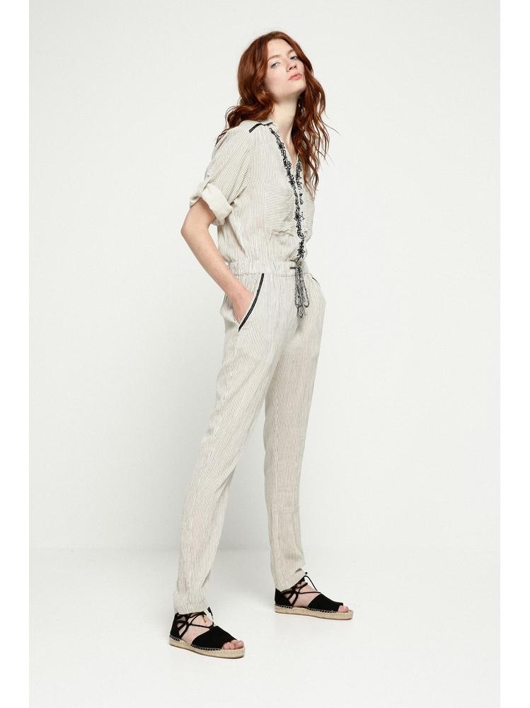 - Combinaison beige brodée à rayures noir - Col chemise -