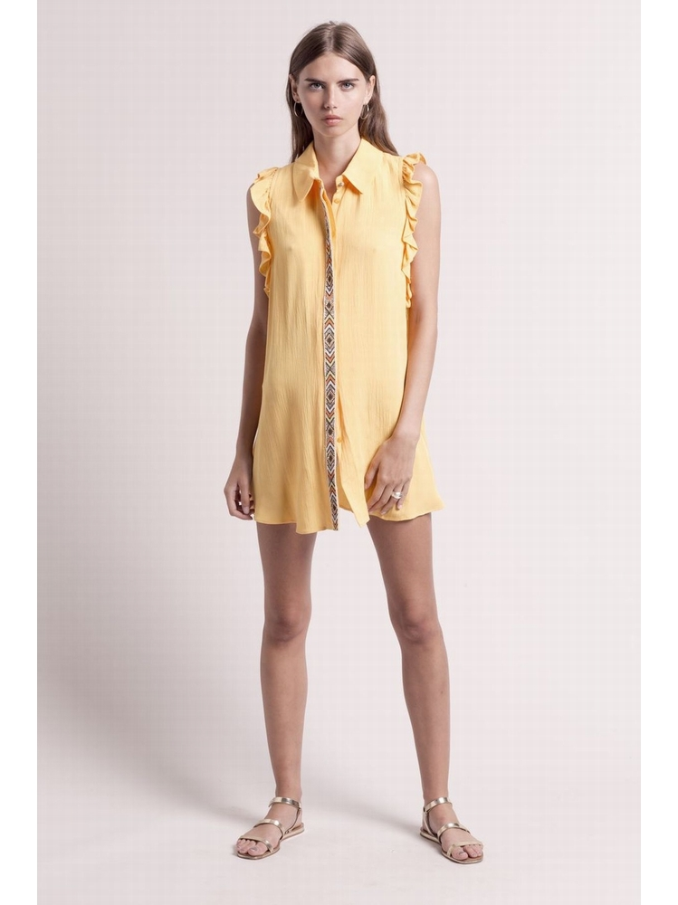 - MADE IN FRANCE - Tunique chemise jaune à volants sans
