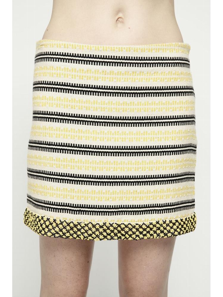 - Jupe courte en coton à motifs jaune et noir rebrodée de