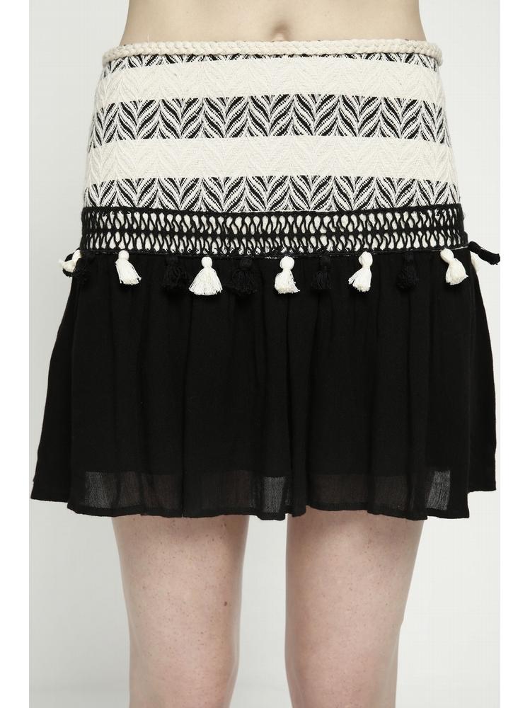 - Jupe courte bi matière en coton noir et ecru - Empiècement