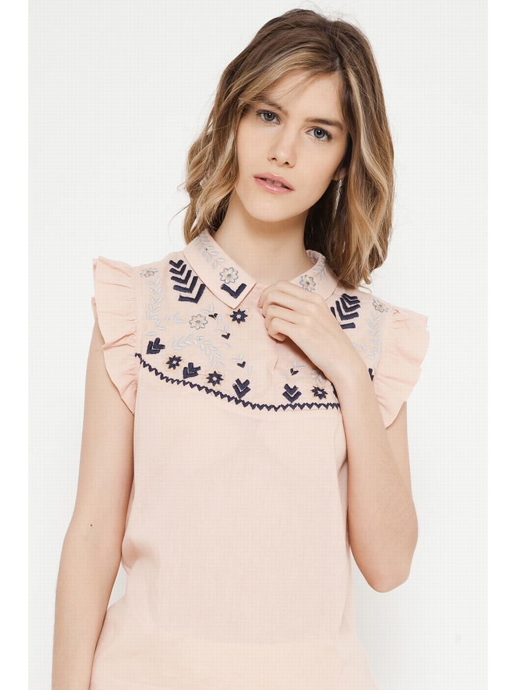 - Top éthnique rose poudré à motifs brodés - Col chemise -