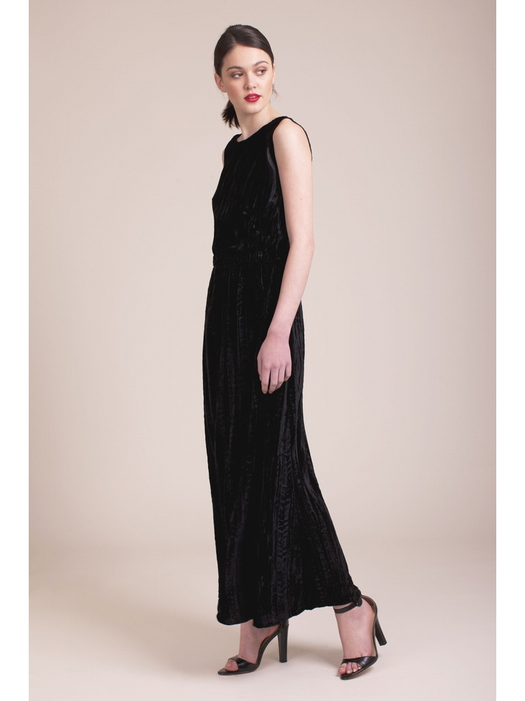 - Robe longue à effet velours - Sans manche - Taille