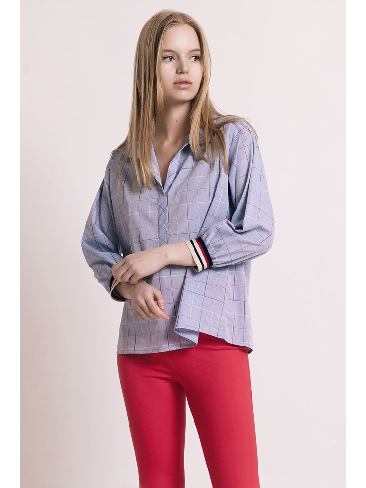 - MADE IN FRANCE - Top col chemise ample à carreaux -