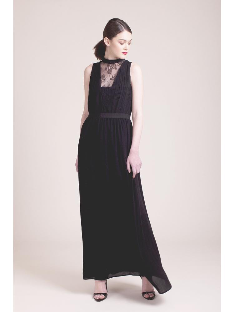 - Robe longue noir sans manche - Col montant - Empiècement