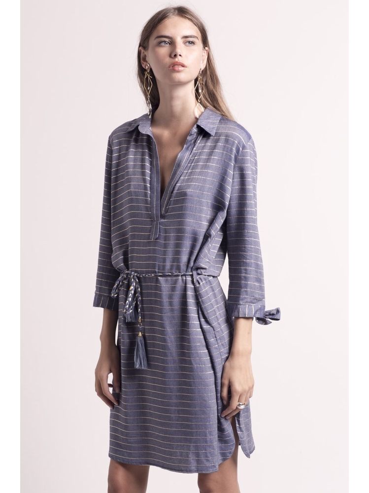 - MADE IN FRANCE - Robe chemisier bleu jean à rayures