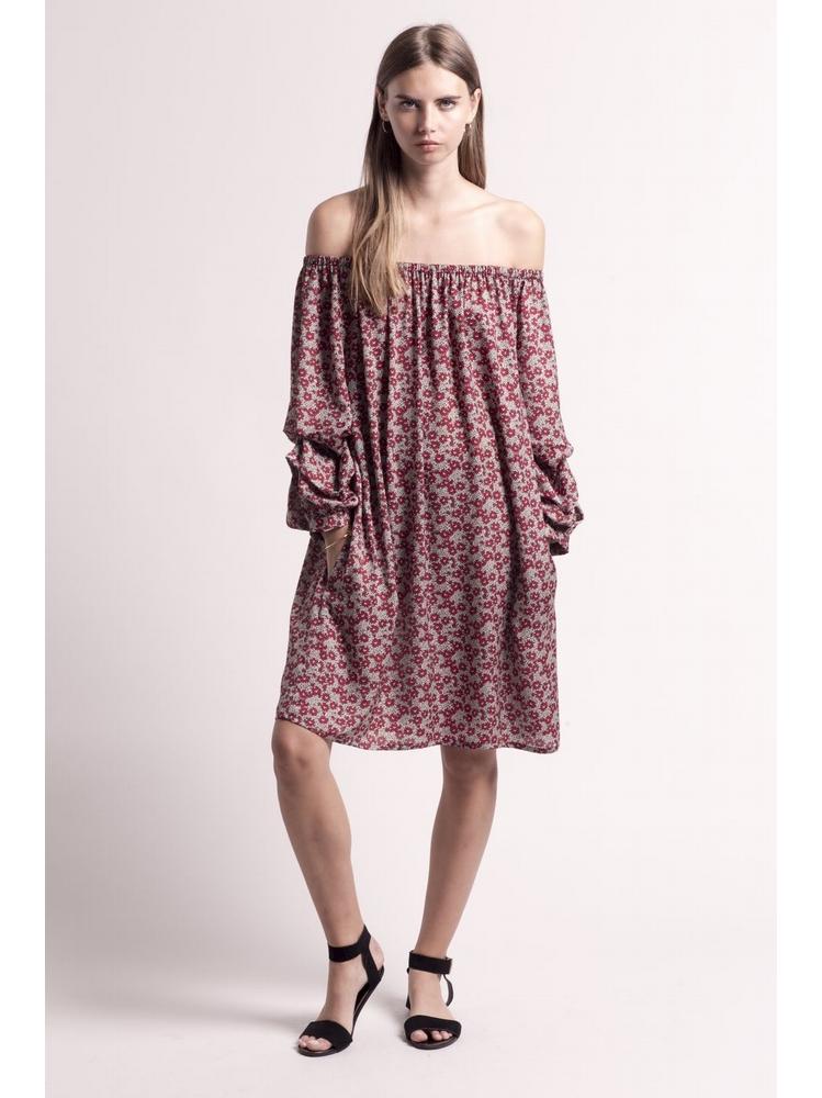 - MADE IN FRANCE - Robe courte imprimé fleurs rouge -