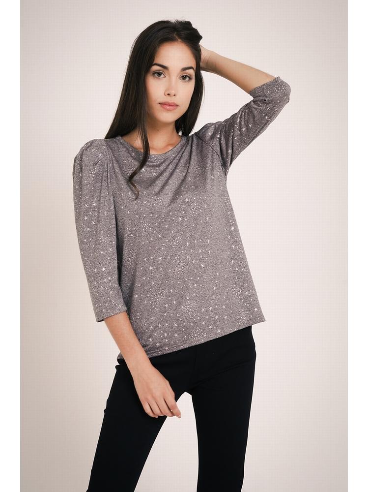 - T-shirt gris chiné imprimé étoiles métalisées - Col rond -