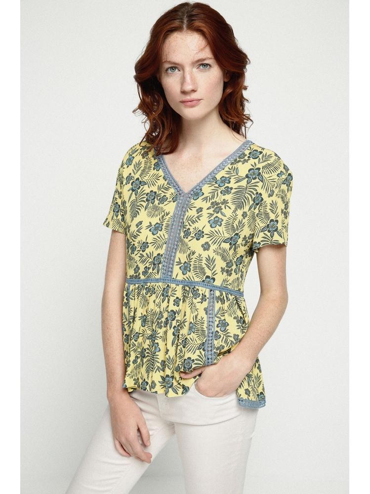 - Blouse jaune ajourée imprimé floral bleu - Col V. dos et