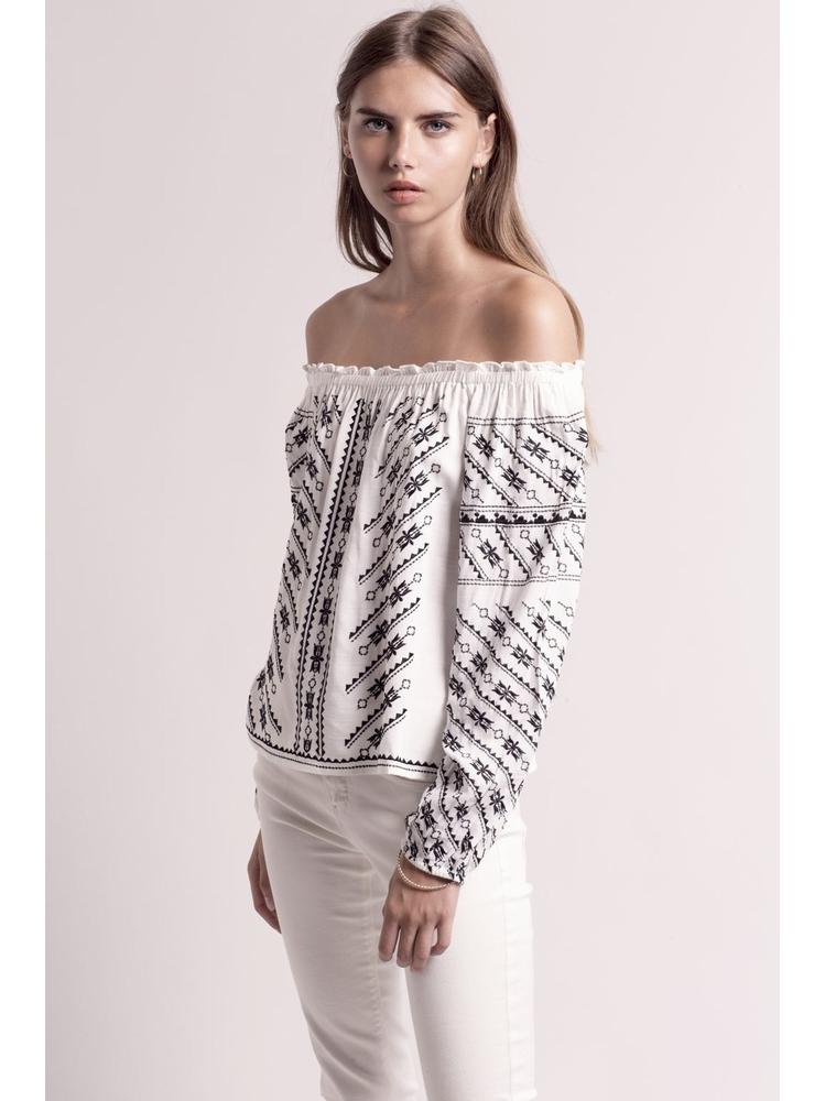 - Blouse épaules dénudés en coton brodé blanc et noir -