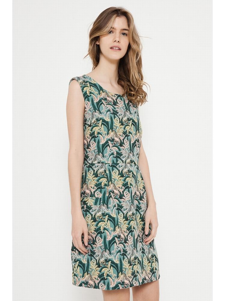 - Robe en jacquard imprimé vert avec des tigres - Sans