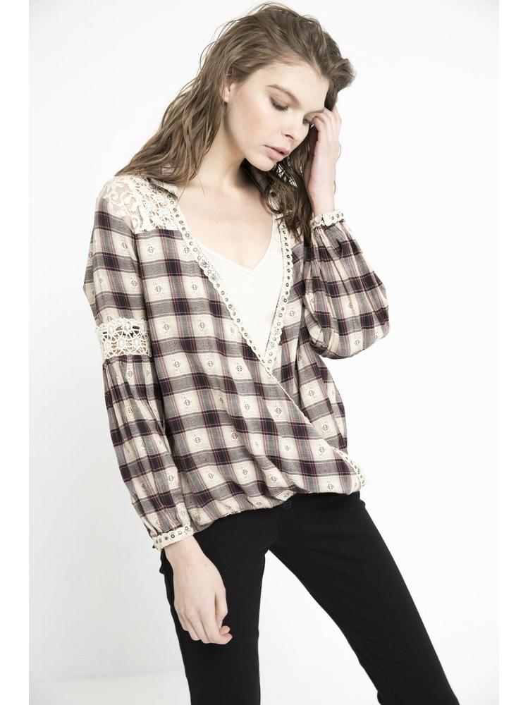 - Top cache-coeur - Col chemise - Manches longues avec