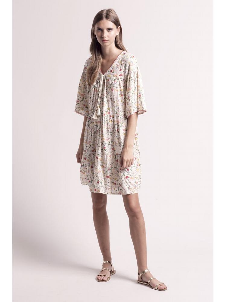 - Robe ample écru imprimé fleurs et perles multicolore - Col