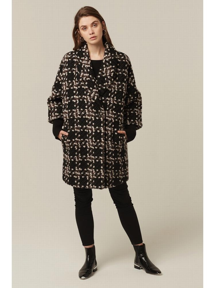 - Manteau texturé oversize avec col à revers et manches 3/4
