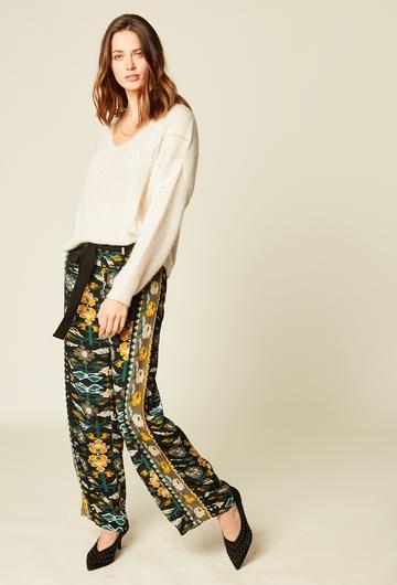 Pantalon pyjama imprimé en viscose. Ceinture intégrée à