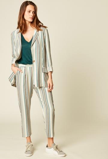 Pantalon droit à rayures en viscose et lin. Resserré à la